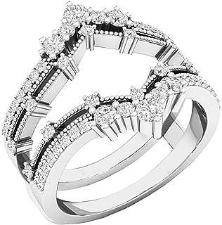 Dazzlingrock Collection - Banda doble de diamantes redondos de 0,60 quilates para dama con 5 piedras para boda, oro de 14 ...