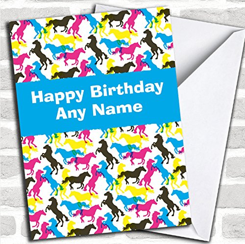 Kleurrijke Paarden Verjaardagskaart Met Envelop, Kan Volledig Gepersonaliseerd, Verzonden Snel & Gratis