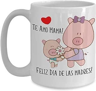 Mother's Day Spanish Language Pink Pig Piglet Coffee Mug Gift Feliz Dia De Las Madres
