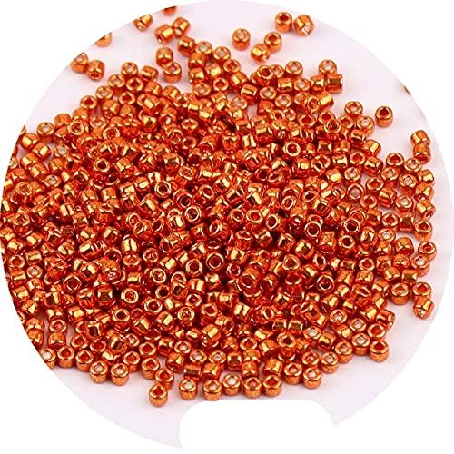 Cuentas de metal brillante de 2 mm de vidrio para bricolaje joyería hecha a mano mujeres encanto regalo estilo bohemio pulsera collar accesorios-China, GD004 naranja, 2 mm 600 piezas