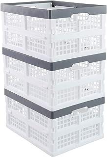 Kiddream 3-pack Plastic Collapsible Crate Foldable Basket Bin, White, 15 Liter