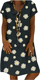 Comaba Womens V Neck Casual Loose Print Flare Swing Midi Dress