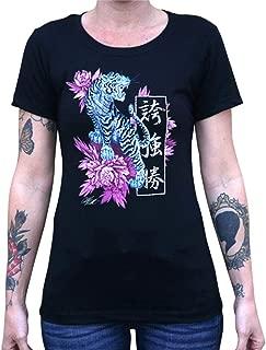 Women's Strength Clark North Tiger Traditional Japanese Tattoo Art Black T-Shirt