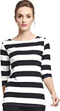 Camii Mia Women's 3/4 Sleeves Cotton Stripe T-Shirt