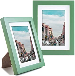 5x7 Picture Frames 2 Pack Natural Solid Wood Environmental Paint Photo Frame for Table or Wall Decorate, Green