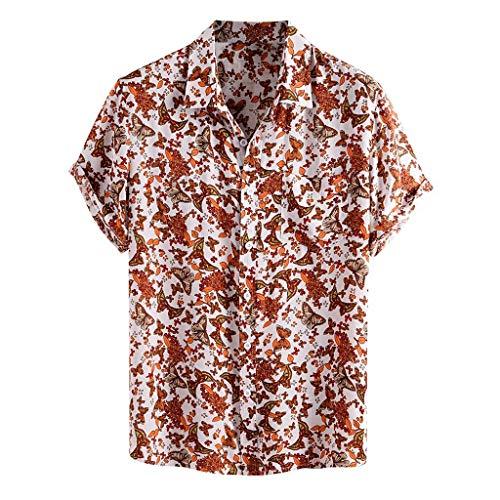 Yowablo Chemises Hommes Imprimé Col Rabattu Manches Courtes Décontracté (XXL,14Jaune)