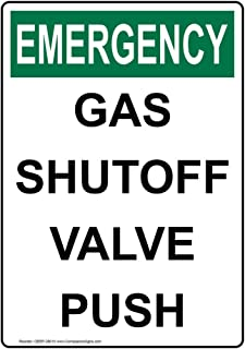 Emergency Gas Shutoff Valve Push OSHA Safety Label Decal, 5x3.5 in. Vinyl 4-Pack for Fuel Pipeline/Utility Hazmat by ComplianceSigns