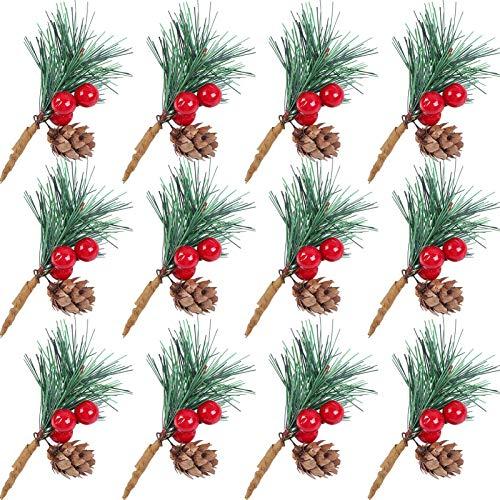 Pino artificial Pick 12pcs arreglo de flores para el hogar con bayas rojas pequeñas falsas DIY corona rama, decoración de jardín interior al aire libre artesanía fiesta