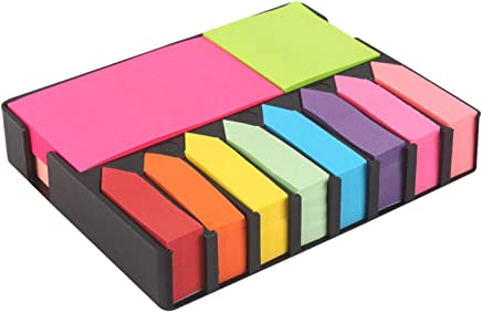 Pinzo Sticky Note Memo Pad With 8 Index Tabs, Bright Neon Colors