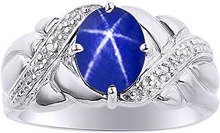 Juego de anillos de zafiro con diamantes y estrellas azules en oro blanco de 14 quilates, piedra de nacimiento de color