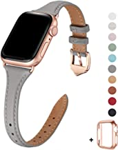 WFEAGL Leather Bands Compatible with Apple Watch 38mm 40mm 42mm 44mm, Top Grain Leather Band Slim & Thin Wristband for iWatch Series 5 & Series 4/3/2/1 (Gray Band+Rose Gold Adapter, 38mm 40mm)