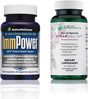 American BioSciences ImmPower 30 Count and SUGARSolve 24/7, Optimal Health Support Bundle, AHCC and Banaba Leaf Extract