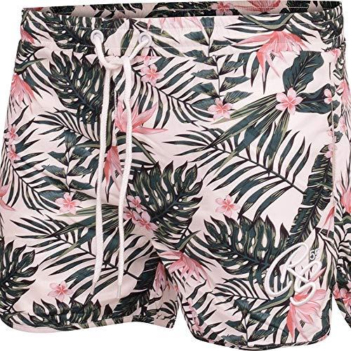 Crosshatch Herren-Badeshorts mit Reißverschlusstaschen, Kordelzug, lässig, Netzgewebe, gefüttert, Blumen-Shorts Gr. XL, gebrochenes weiß