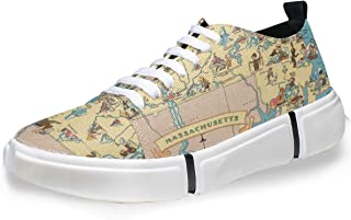 Vintage 1935 Massachusetts State Map Fashion Sneaker Casual Shoes