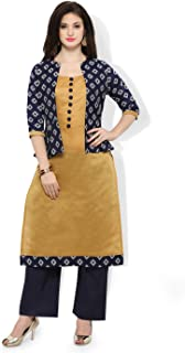 Inddus Blue & Yellow chanderi cotton kurta With Palazzo/Women