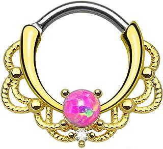 Piercingfaktor Reg; Piercing da Naso Anello Tribale Placcato Oro con Opale Drachensilber Tribal Oro con Opal