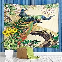 JOOCAR アジアの装飾的なタペストリーヴィンテージカラフルな孔雀の羽水彩動物の森の壁掛け居間の寝室の寮の装飾的な芸術のタペストリー 150cm x 200cm