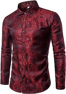 Yffksse Hombres Versaces Camisa Personalidad Lustroso Pub Ropa Casual Tops Único Modelo,A,M