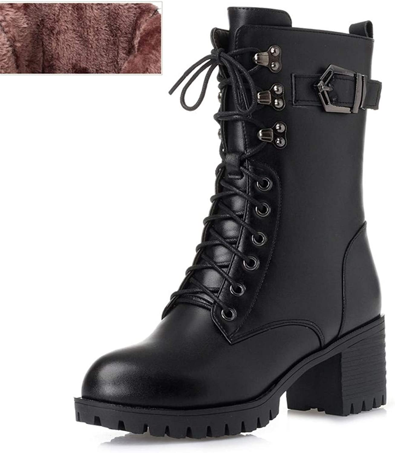 Genuine Leather Women Military Boots Women Martin Boots -Heeled Thick Wool Boots