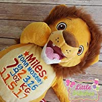 Personalised lion teddy new baby gift. unusual new baby gift personalised with baby name and birth details, jungle...
