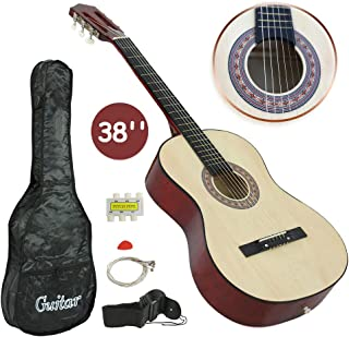 "Smartxchoices 38"" Kids Acoustic Guitar Kits with Gig Bag, Strap, Pitch Pipe, Extra Set of Strings and Pick for Novice Beginners Music Lovers Kids (Natural)"