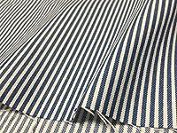 生地屋すず木 ヒッコリー ブルー 系 ネイビー × ホワイト ストライプ 布 生地 カットクロス ハンドメイド用品 DIY (3m/幅112cm)