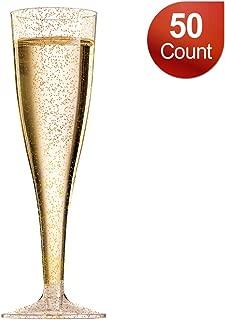 Disposable Champagne Flutes/Plastic Champagne Glasses - 50 Count 5 oz Gold Glitter Plastic Classicware Glass Like Champagne