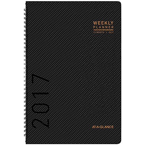"""AT-A-GLANCE Weekly / Monthly Planner / Appointment Book 2017, 4-3/4 x 8"""", Graphite Textured Pattern (70-100X-45)"""