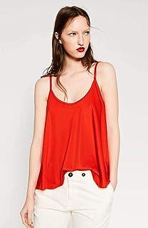 d5f4fcae Zara Dark Orange Round Neck Cami & Strappy Top For Women