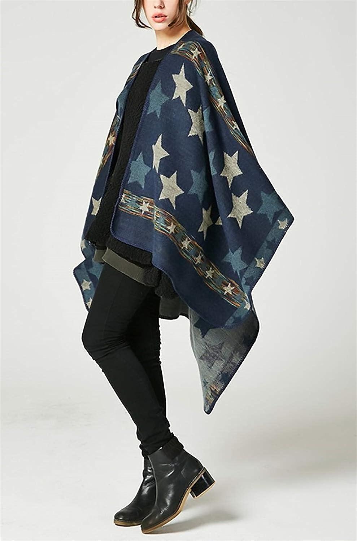 BOLAWOO Mantella Donna Eleganti Poncho A Maglia Autunno Invernali Smanicato Pattern Mode di Marca Stampate Irregular Baggy Casual Scialle Stola Giaccone Outerwear Outwear Accogliente Scialle della