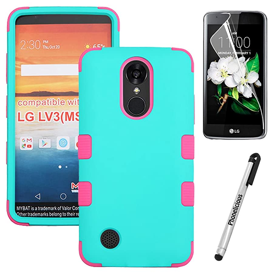 LG ARISTO Case, Phonelicious LG ARISTO [Heavy Duty] [Shock Absorption] [Drop Protection] [Hybrid] Rugged Impact Phone Tuff Cover + Screen Protector & Stylus (TEAL/PINK TUFF)