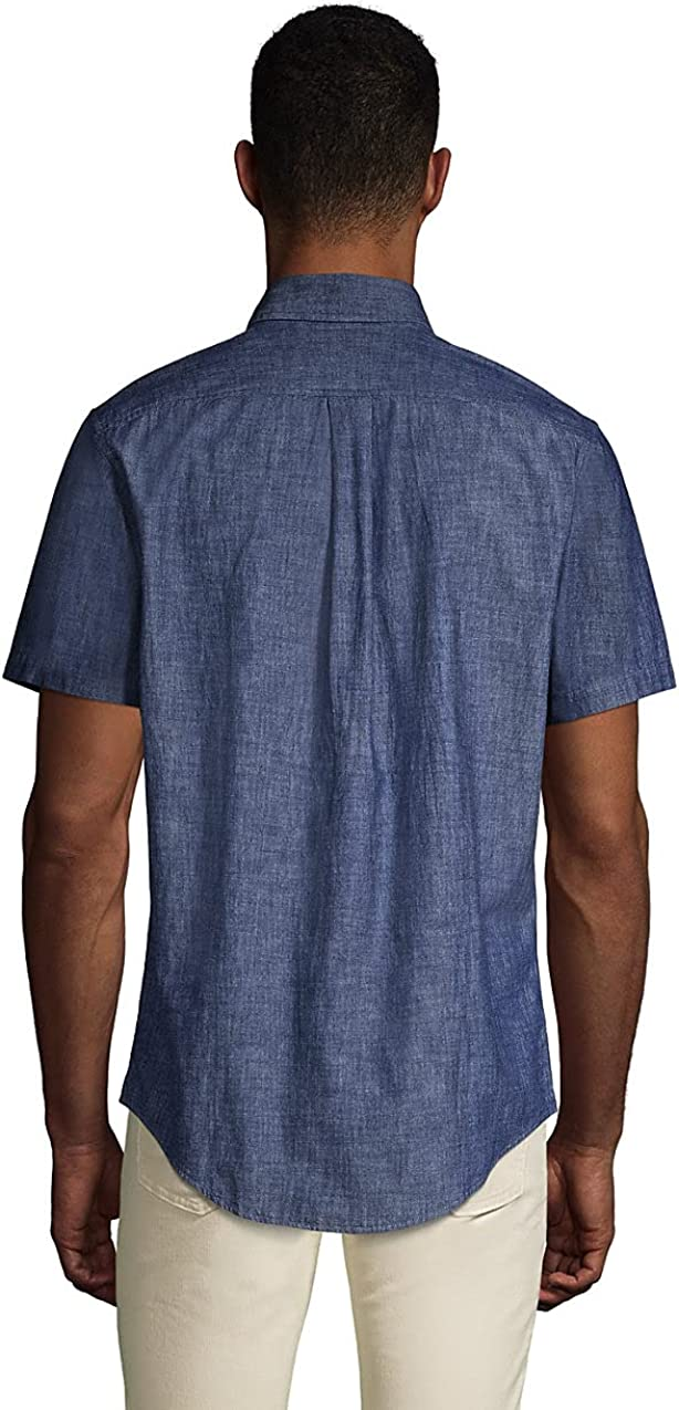 Lands' End Men's Traditional Fit Short Sleeve Chambray Shirt