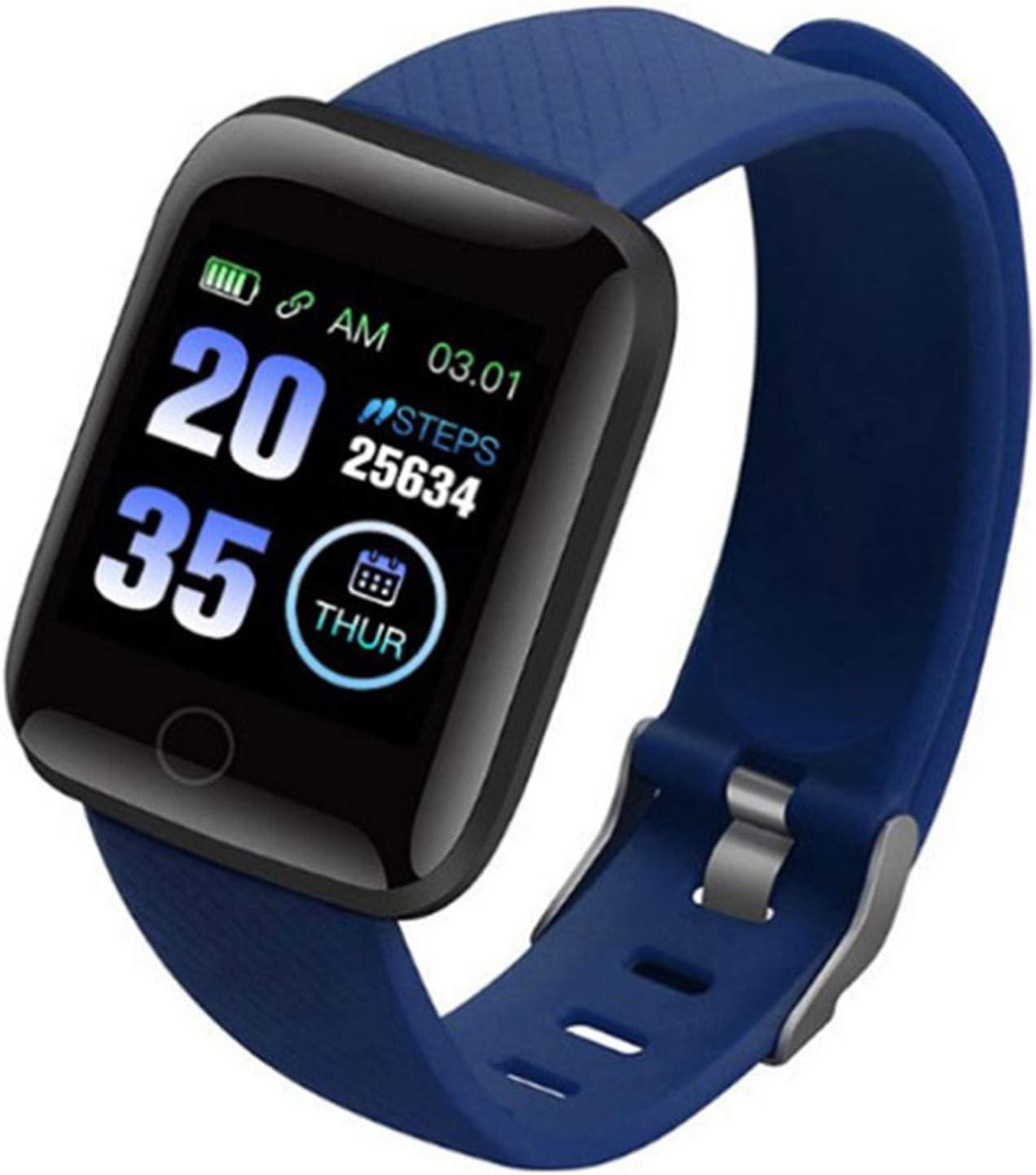 Wsaman Reloj de Pulsera Deportivo con Bluetooth, Monitor Rítmo Cardíaco y Sueño,con Pantalla de 1.3 Pulgadas, para Hombre Mujer Niño, Pulsera de Fitness,Azul
