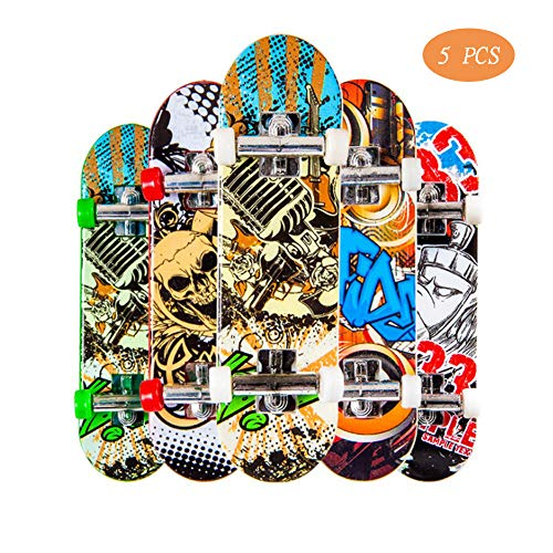 Unetox Finger Skateboard, Mini Fingerboard Toy Fingertips Movement Matte Surface for Kids Party (Color Randomly) 5 PCS