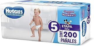 Huggies UltraConfort Pañal Desechable para Bebé, Etapa 5 Niño, Caja con 200 Piezas, Ideal para niños de11 a 14.5 kg