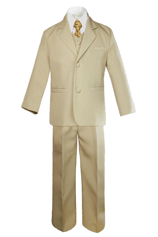 Cash special price 6pc Boys Khaki Tuxedo Suits with Geometric High quality new Satin Ki Necktie Baby