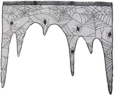 XPSD Curtains Decoration Spider Web Pattern Fireplace Mantle Scarf Cover Curtains Shades Festive Party Supplies for Halloween