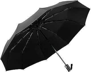 Windproof Travel Umbrella, REOTECH 10 Ribs Automatic Open/Close Compact Folding Umbrella Business Umbrella Black