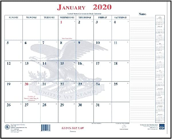 2020 Unicor Calendar Blotter 18 X 22