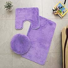 ESUPPORT Solid Color Bathroom Rug 3 Pcs Soft Absorbent Non Slip Bath Mat Carpets & Toilet Lid Cover Set Washable, Purple