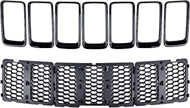 Anzio Full Set Front Grille Inserts w/Cover for 2014-2016 Jeep Grand Cherokee