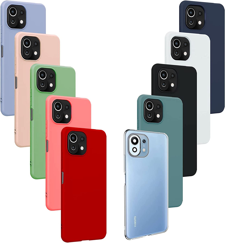 10X Fundas para Xiaomi Mi 11 Lite(4G/5G), Carcasa Silicona de Color Sólido Anticaída, Cubierta Flexible Ultrafina a Prueba de Arañazos y Golpes-10 Colores