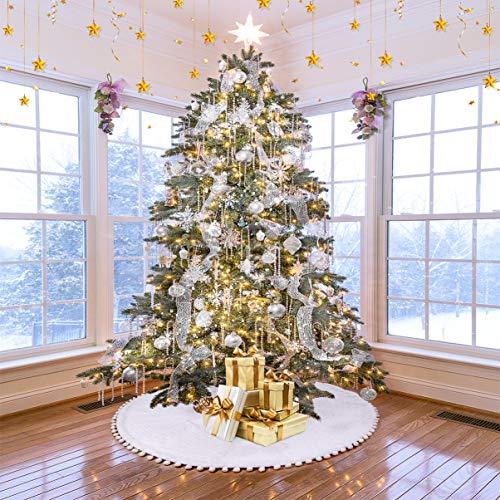 Weihnachtsbaum Rock Weiß Weihnachtsbaumdecke Rund Plüsch Weihnachtsbaum Rock Groß Fell Christbaumdecke Christbaumständer Teppich Baumdecke Weihnachtsbaum Deko, 122 cm