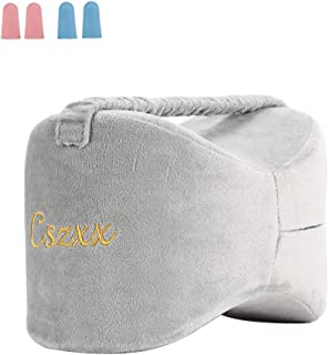Cszxx Knee Pillow for Side Sleepers - Sciatica Pain Relief, Back Pain, Leg Pain, Pregnancy, Hip and Joint Pain 100% Pure Memory Foam Leg Pillow with Ear Plugs