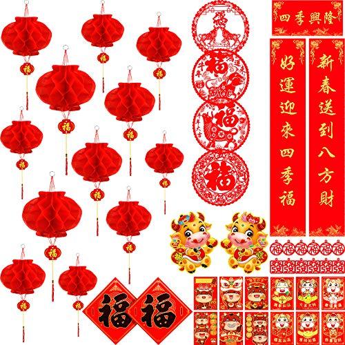 45 Piezas Juego de Decoraciones de Año Nuevo Chino Coplas Chinas Sobres Rojos Chinos Hong Bao Corte de Papel de Carácter Fu Linterna Roja Suministros de Fiesta de Primavera
