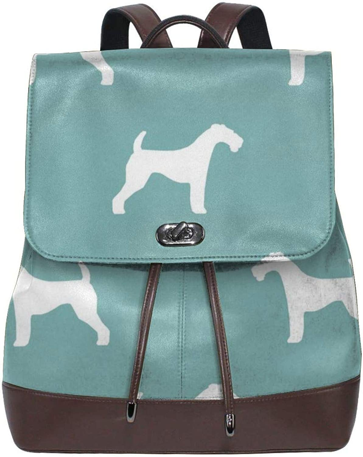 Fashion Leather Backpack Airotale Terrier Silhouette Dog Gulf Purse Waterproof Anti Rucksack PU Leather Bags