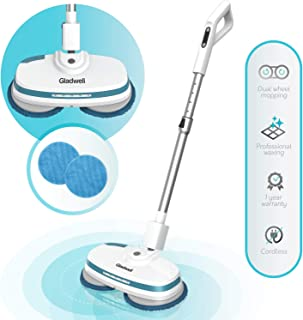 Gladwell Cordless Electric Mop - 3 in 1 Spinner, Scrubber, Waxer Quiet, Powerful Cleaner Spin Scrubber & Buffer, Polisher for Hard Wood, Tile, Vinyl, Marble, Laminate Floor - 1 Year Warranty - Blue