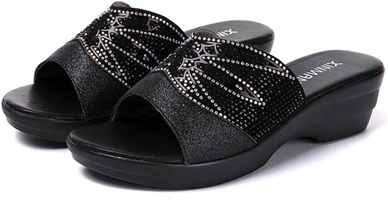 GIY Rhinestone Low Wedges Slide Sandals for Women Platform Comfort Anti-Slip Sparkly Dress Sandals Black