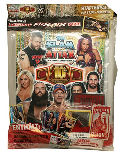 Topps - WWE Slam Attax 10th Edition - Display, Booster, Starter Pack - Deutsch (1 Starterpack)