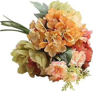YJYdada Artificial Silk Fake Flowers Peony Floral Wedding Bouquet Bridal Hydrangea Decor (C)